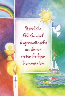 Kommunionkarte Herzliche Segenswünsche (6 Stck) Grußkarte Erstkommunion Kuvert