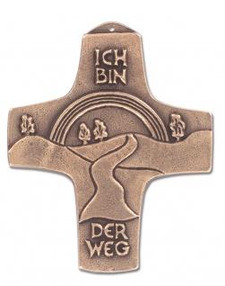 Wandkreuz Ich bin der Weg Bronze Erstkommunion Kreuz 10, 5 cm Peters