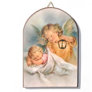 Wandbild Schutzengelbild Baby mit Engel 15 x 10 cm Engel bewacht das Kind