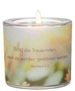 Windlicht Trost Glas Teelicht Bibelwort Matthäus Geschenkverpackung