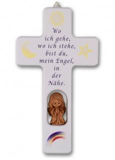 Kinderkreuz weiß Tonengel Naturholz Text Wo ich gehe.. 20 cm Wandkreuz Holzkreuz