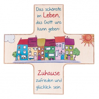 Kinderkreuz Haussegen Kreuzform Leben Zuhause Buchenholz bunt 12x12 cm Wandkreuz