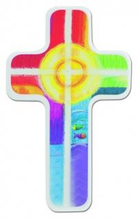 Kinderkreuz Buche Holz weiß Sonne Fische 18 cm farbig bedruckt Wandkreuz Kreuz