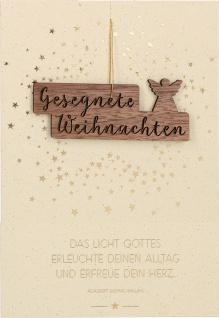 Weihnachtskarte Gesegnete Weihnachten mit Engel-Anhänger aus Holz (5 Stck)