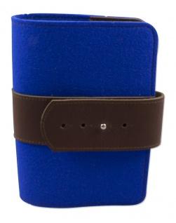 Gotteslobhülle Grossdruck Wollfilz blau, Lederschnalle