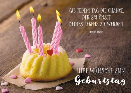 Postkarte Geburtstag Mark Twain Kuchen Kerzen 10 St Adressfeld Leben Freude