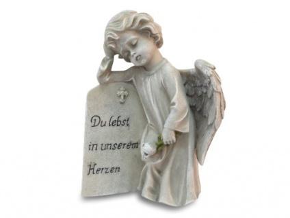 Engel Du lebst in unserem Herzen Grabschmuck 20 cm Trauer Grabdekoration