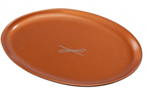 Kerzenteller Aluminium rotgoldfarben oval 9 x 12 cm für Tischkerzen Altarkerzen