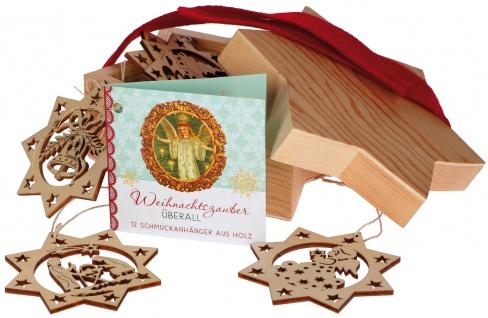 Sterndose Weihnachtszauber 12 Sterne Anhänger aus Holz Christbaum Deko
