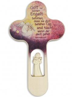 Kinderkreuz geschnitzter Engel Geige Schutzengel Naturholz 21 cm Wandkreuz Psalm