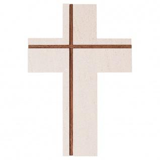 Wandkreuz Kalkstein Nussbaum Inlays Kreuz 22 cm Kruzifix Christlich