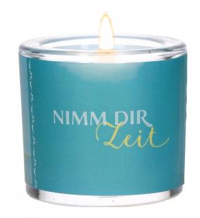 Glaswindlicht Nimm dir Zeit Teelicht Kerzenhalter Geschenkbox Glas für Windlicht