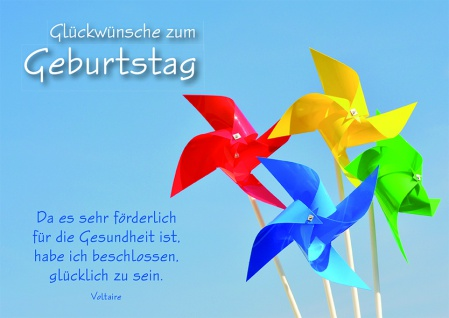Postkarte Windrad Glückwünsche zum Geburtstag (10 Stck) Grusskarte Adressfeld