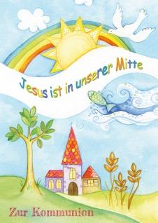 Glückwunschkarte Zur Kommunion Christliche Symbole und Kuvert 6 Stck