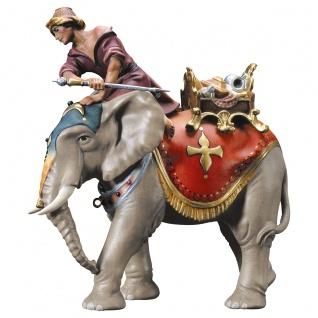 Elefantengruppe mit Schmucksattel 3 Teile Holzfigur geschnitzt Krippenfigur