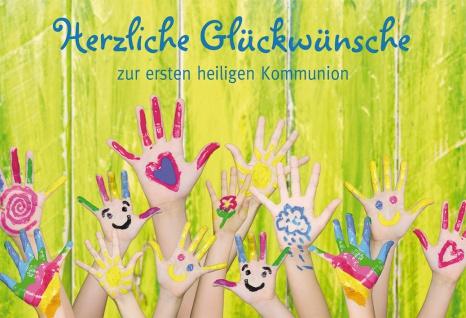 Glückwunschkarte Herzliche Glückwünsche zur Kommunion (6 St) Kinderhände bemalt