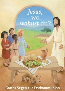 Glückwunschkarte Gottes Segen zur Erstkommunion (6 St) Jesus und Kinder