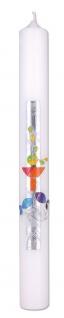 Kommunionkerze Kelch Fische Kreuz 40 cm Wachsmotiv Kerze zur Kommunion