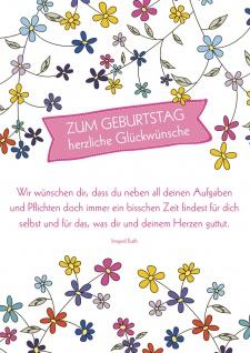 Postkarte Geburtstag Blumen 10 St Adressfeld Glückwünsche Zeit Herz Wohlbefinden