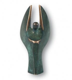 Engelfigur Bronze 7 cm patiniert Schutzengel Bronze Figur Bronzeskulptur
