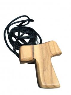 Schmuck Kreuz Anhänger Tau 3, 5 cm Kruzifix Olivenholz Bethlehem Holzkreuz