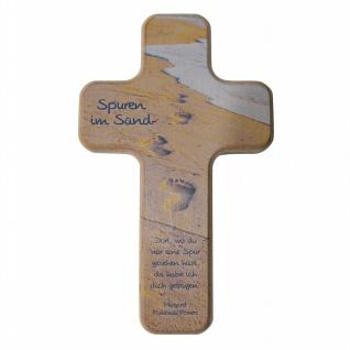Kinderkreuz Spuren im Sand Buche 18 cm Wandkreuz Holz Kreuz Fishback-Powers