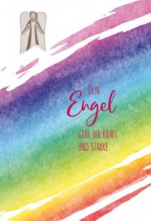 Grußkarte Dein Engel gebe dir Kraft und Stärke (5 Stück) Metall-Plakette