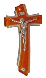 Tau Glaskreuz Glas orange Korpus versilbert Kreuz 15, 5 cm Wandkreuz Kruzifix NEU