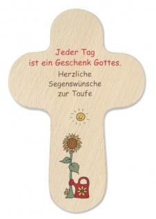 Wandkreuz Taufe Kinderkreuz Sonnenblume Gießkanne Naturholz Kreuz Text 16 x10 cm