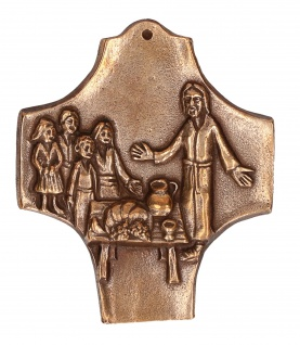 Kommunionkreuz Kommt und seht Bronze 9, 5 cm Symbolkreuz Erstkommunion