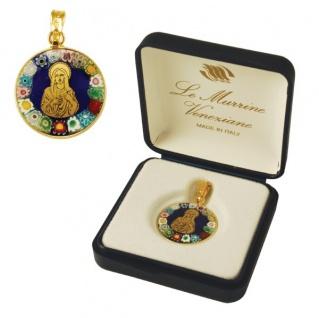 Heilige Maria Mutter Gottes Anhänger Murano Glas vergoldetes Silber gefasst