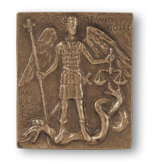 Namenstag Michael Bronzeplakette 13x10 cm Namenspatron