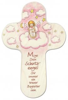 Kinderkreuz rosa Möge Dein Schutzengel 15 cm Wandkreuz Holzkreuz