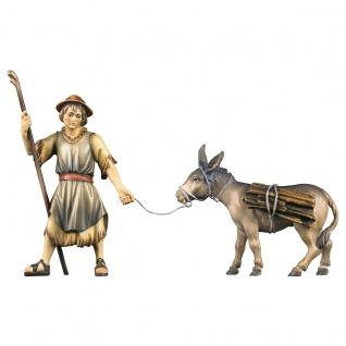 Hirte ziehend mit Esel 2 Teile Holzfigur geschnitzt Krippenfigur Ulrich Krippe