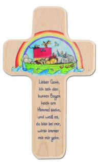 Kinderkreuz Arche Noah Buche natur 18 cm Wandkreuz Holz Kreuz bedruckt Text NEU