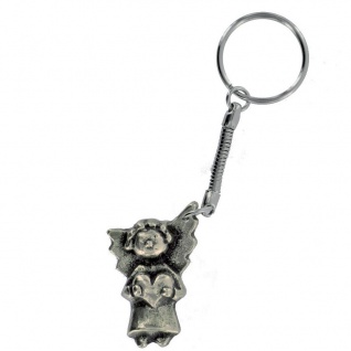 Schlüsselanhänger Lustiger Engel Neusilber 4 cm Schutzengel Anhänger