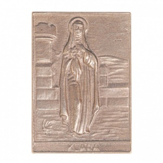 Namenstag Klara 8 x 6 cm Bronzeplakette Bronzerelief Wandbild Schutzpatron