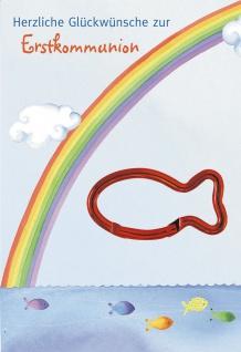 Glückwunschkarte Fisch Karabinerhaken (5 Stck) Grußkarte zur Erstkommunion