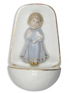 Weihwasserkessel Engel blau Porzellan 10 cm Weihwasserbecken Junge