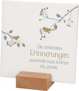 Relief Erinnerungen Porzellan Luise Rinser Stand-Sockel Holz 10 cm