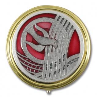Rosenkranz Metall Etui Taube 5, 5 cm rund goldfarben Schmuckschatulle
