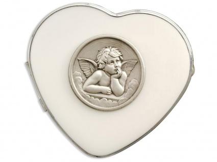 Herz-Etui Engel Angelo, Metall silberfarben 6, 4 cm
