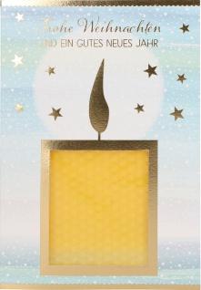 Grußkarte mit Bastelanleitung Bienenwachskerze Weihnachten (5 Stück) Kuvert