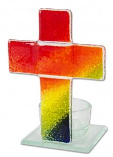 Teelichthalter Kreuz zur Meditation Regenbogen Fusing Glas 11 cm Stehkreuz
