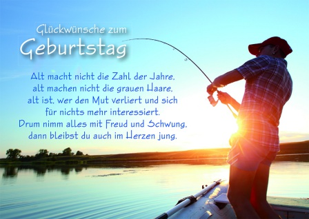 Postkarte Angler Glückwünsche zum Geburtstag (10 Stck) Grusskarte Adressfeld