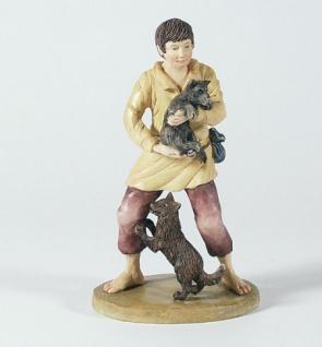 Krippenfigur Hirte mit zwei Hunden Bergische-Krippe Krippen Figur Weihnachten
