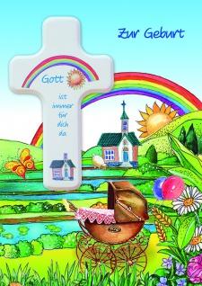 Geburtskarte mit Holzkreuz Zur Geburt (1 Stck) Spruch Glückwunschkarte Geburt
