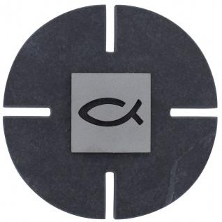Wandkreuz Schiefer Fisch Ichthys Edelstahl 11 cm Kruzifix Christlich