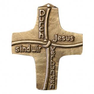 Wandkreuz Kreuz Durch Jesus verbunden Bronze 8 cm Kommunion Handarbeit Peters