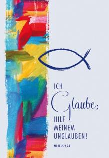 Grußkarte Jahreslosung 2020 6 Stück Bibelwort Markus Lutherbibel Kuvert Fisch
